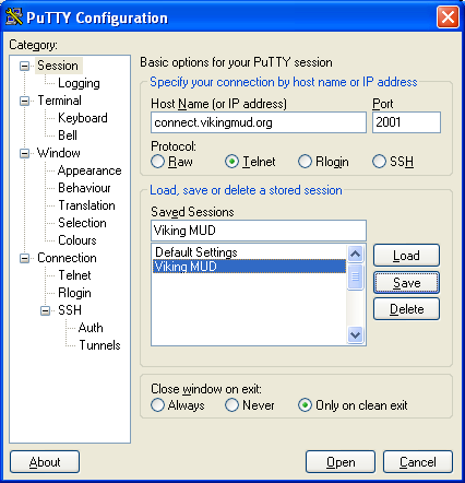 PuTTY after configuration